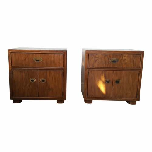 Vintage Passage Campaign Nightstands by Drexel Furniture Company a pair