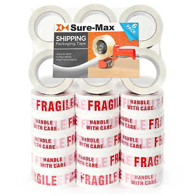 36 Rolls Fragile - Handle W Care Printed Tape 2x110 Yard330 Ea Whitered