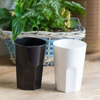 2 x Black White Reusable Plastic Hi-Ball Tumblers Drinking Glasses Party Cups ()