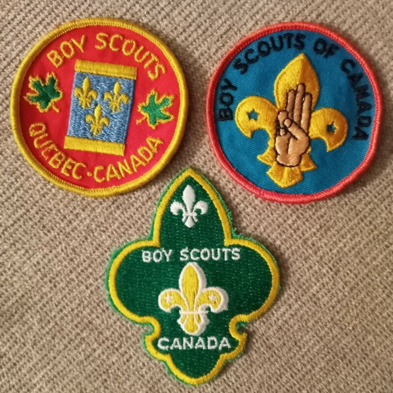 Vintage Boy Scout of CANADA Patches (3) CANADIAN quebec Scouting badge 1980s
