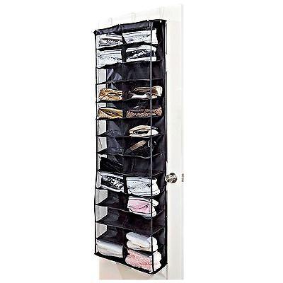 New 26 Pockets Over the Door Shoe Pair Rack Organizer Holder Storage Shelf Black