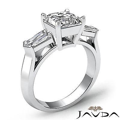 3 Stone Flashy Asscher Cut Diamond Engagement Ring GIA G SI1 Platinum 950 1.5 ct 1