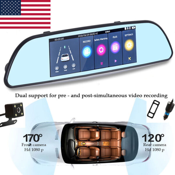 7'' HD 1080P Car DVR Dual Lens Camera Vehicle Rearview Mirror Dash Cam Recorder