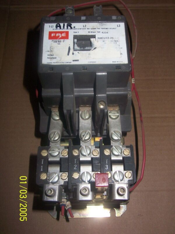 FEDERAL PACIFIC FPE 4204 SIZE 3 CU33-26 MODEL C 120V COIL MOTOR STARTER