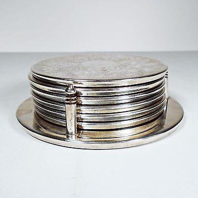 6 Silver Plated Coaster Set Metal Round Leaf Vine Pattern with Holder