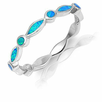 Marquise / Round Blue Australian Fire Opal Inlay Sterling Silver Eternity Ring Blue Opal Inlay Ring