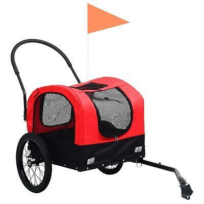 nuovo Rimorchio Bici per Animali e Carrello Jogging Rosso Nero K8L2