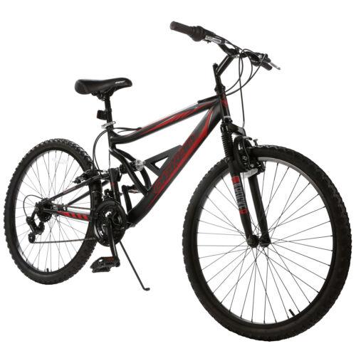 "26"" Mountain Bike 18 Speed Hybrid Bicycle Shimano & Full Suspension Sports"