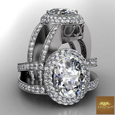 Double Halo Split Shank Oval Diamond Engagement Pave Set Ring GIA F VS1 2.85 Ct