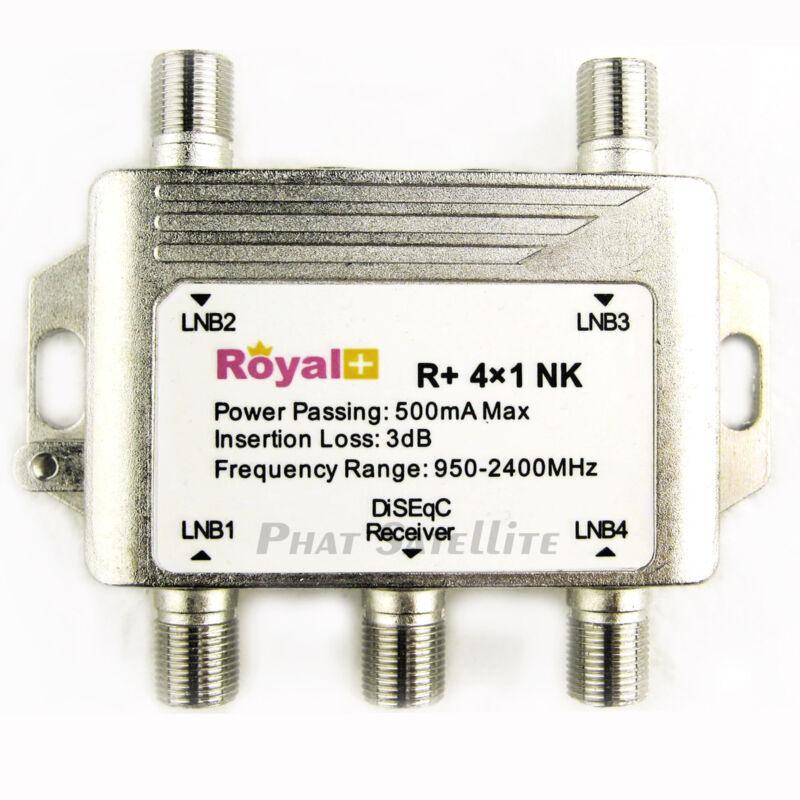 Royal+ Heavy Duty 4x1 DiSEqC Switch Satellite DISH Royal+  500mA Max CNX Chieta