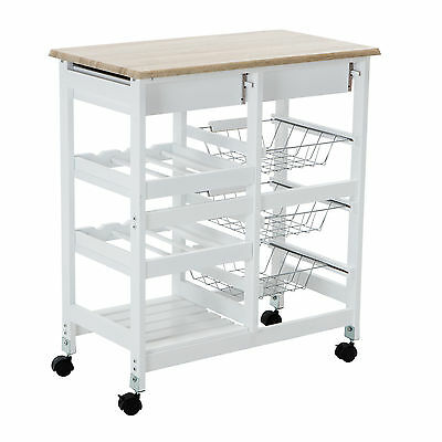 Portable Oak Kitchen Island Cart Trolley Rolling Storage Dining Table 2 Drawers