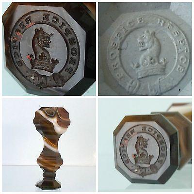 Victorian Agate Intaglio Seal Heraldic Armorial Crest Latin Prospice Respice