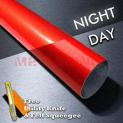 12x48 Reflective Red Vinyl Wrap Sticker Decal Graphic Sign Car Adhesive Film