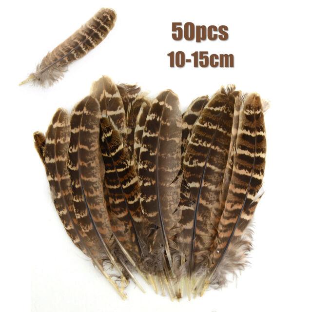 50pcs Hen Pheasant Wing Brown Feather Beautiful 10-15cm DIY Wedding Craft Decor