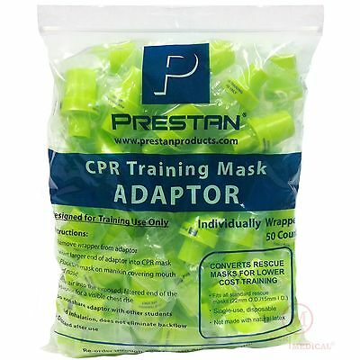 Pack Of 50 Cpr Pocket Rescue Mask Training Adapter Valves Prestan 10076-ppa-50
