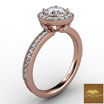 Halo Milgrain Pave Bezel Setting Round Diamond Engagement Ring GIA E VS1 1.22Ct 10