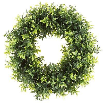 Pure Garden 11 Inch Open Basil Leaf Wreath Indoor Outdoor Artificial ()