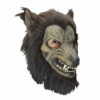 Brown Wolf Mask (Brown Furry Werewolf Costume Mask Scary Latex Wild Wolf Animal Mask Adult)