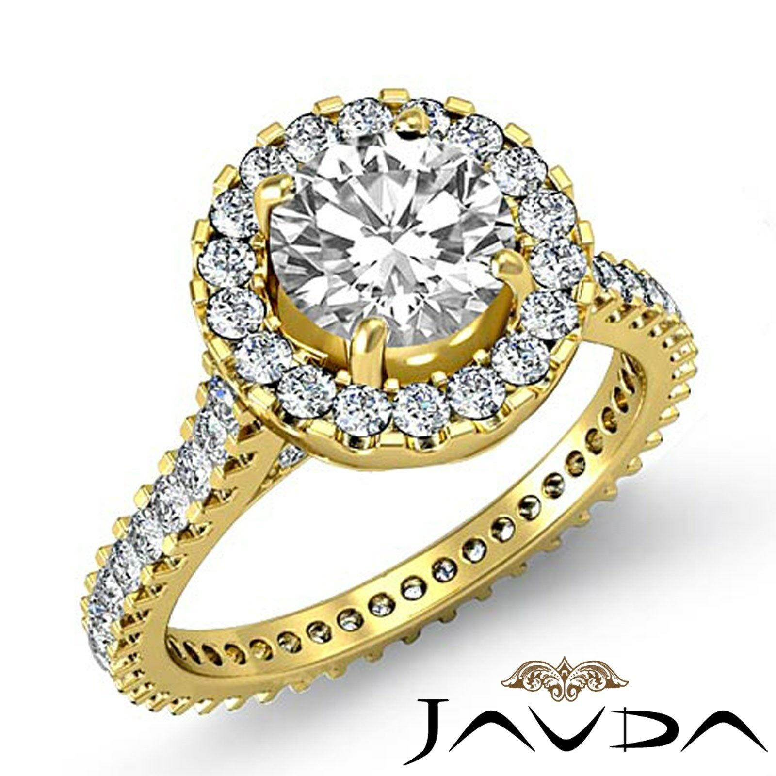 Halo Shared Prong Round Shape Diamond Engagement Yellow Gold Ring GIA F VS1 3Ct