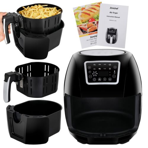 1700W Hot Air Fryer Family Size 5.8Qt 8-in-1 Recipe Book Tou