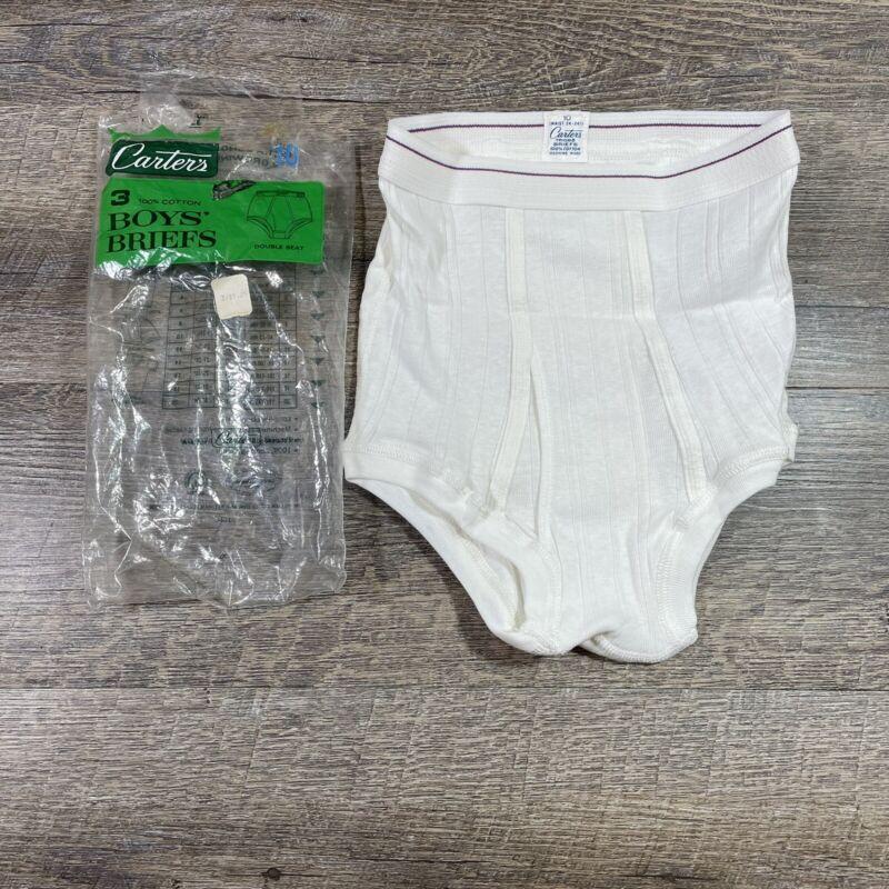 Vintage 1 Pair Carters Boys 10 Briefs White Cotton Ribbed Double Seat Underwear