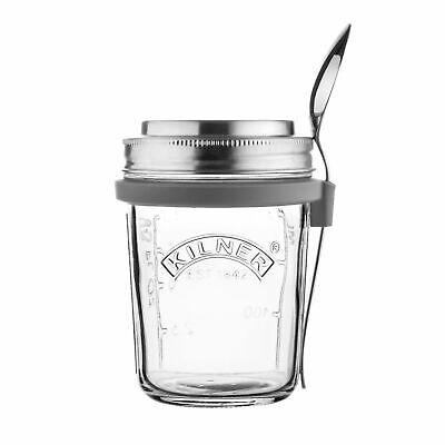 Kilner 0.35 Litre Glass Breakfast On the Go Jar Work Lunchbox Set With Spoon