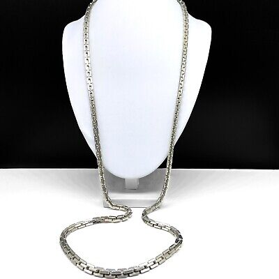 Vintage Double Strand Flat Twist Silver Tone and Black Enameled Chain