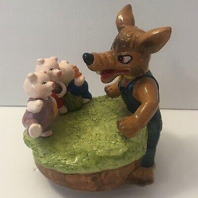 Vintage Who's Afraid Big Bad Wolf Three Little Pigs Spinning Music Box Figurine