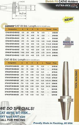 Ultra Dex Usa Extra Length .750 Shrink Fit Holder New Fit Hass Cat 40 Cnc