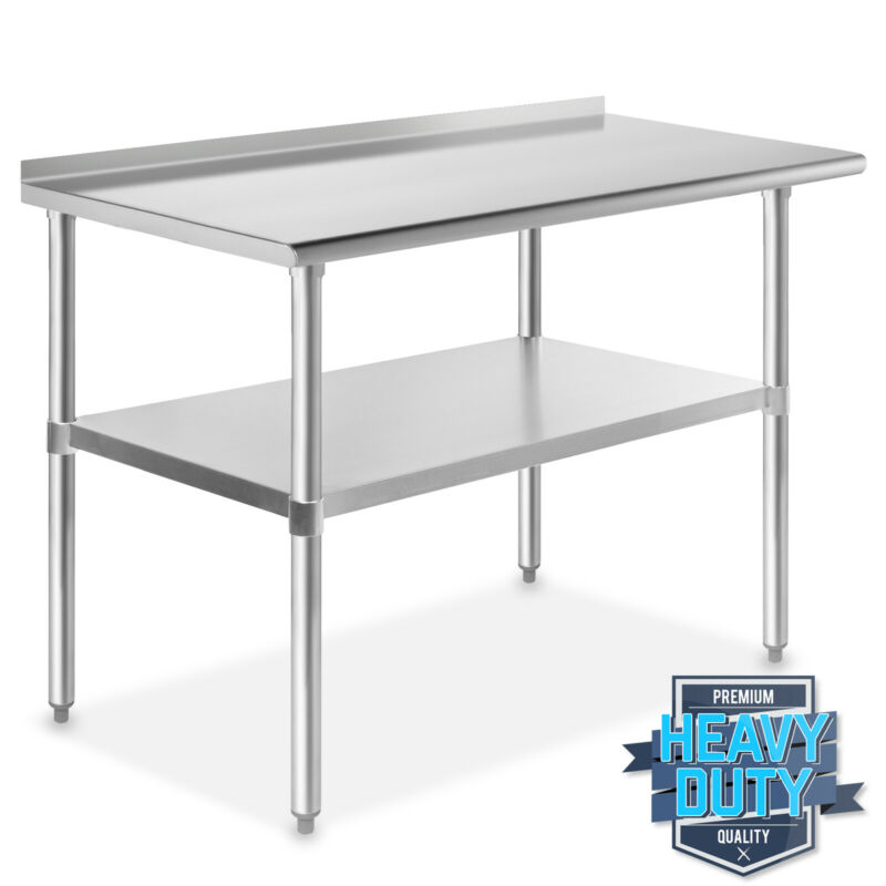 "Stainless Steel 24"" x 48"" NSF Kitchen Restaurant Work Prep Table with Backsplash"