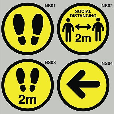 Social Distancing Floor / Wall Stickers Signs (Set of 4)
