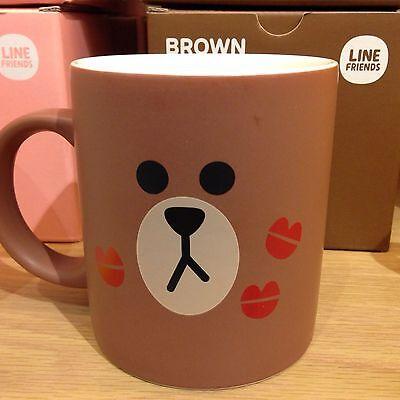 Korea Naver Line Friends Cute Ceramic Brown Mug Cup Kiss Face Mascot Gift L292