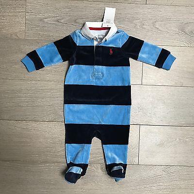 BNWT Baby Boys 6m Ralph Lauren Polo plush velvet babygrow  100% Genuine