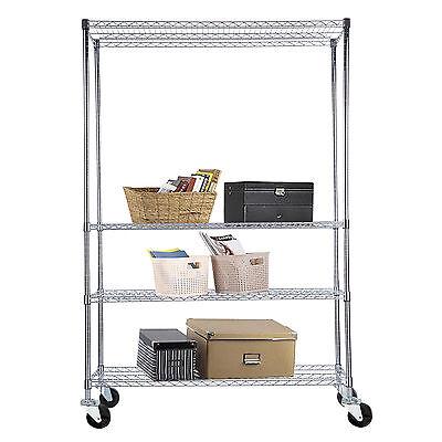 4 Tier 82x48x18 Heavy Duty Chrome Wire Shelving Rack Steel Shelf Adjustable