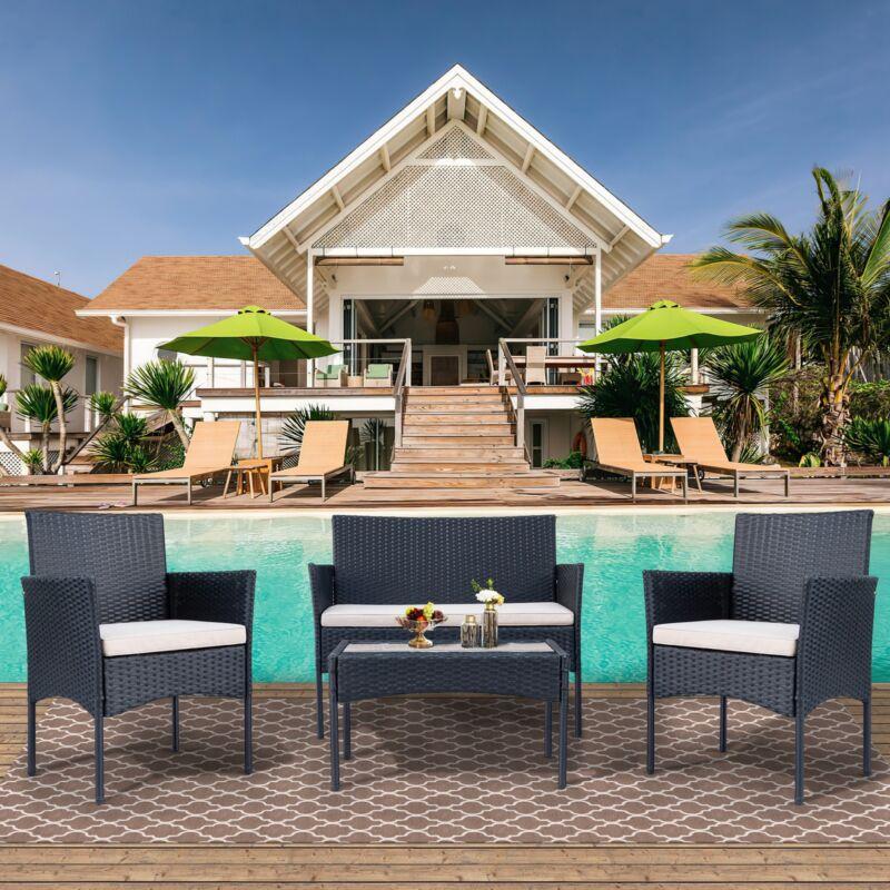 Polyrattan Sitzgruppe für 4 Personen Balkonmöbel Set Gartenmöbel-Sets Sofa&Tisch