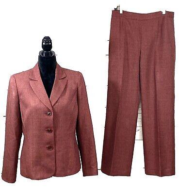 Le Suit Women's 2PC Pant Suit Blazer Buttons Burgundy Career Size 10