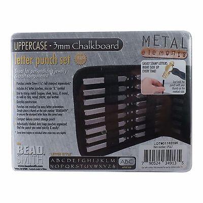 3mm Chalkboard Uppercase Letter Stamp Set Punch 27 Piece Steel Metal Alphabet