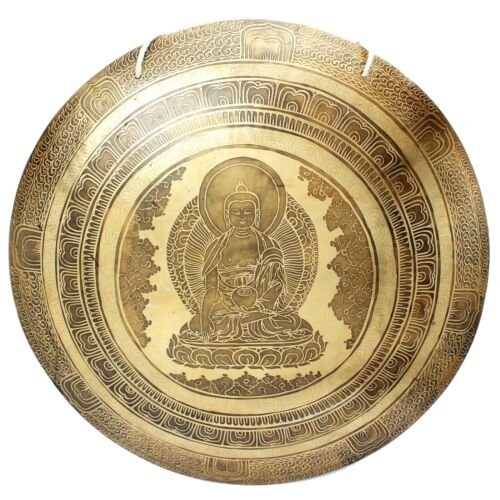 21 inches Buddha carved Handmade gong-Temple gong-Tibetan gong-Mantra carved