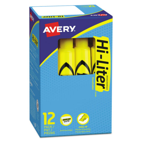 Avery HI-LITER Fluorescent Desk Style Highlighter, Chisel Tip, Yellow, 12-Count