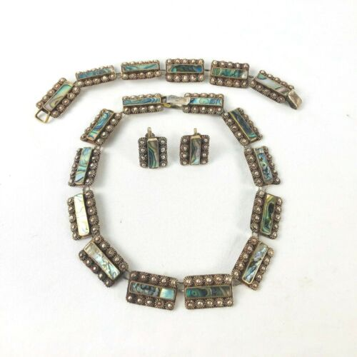 Mexican Abalone Sterling Silver 925 Necklace Bracelet Earring Parure Set