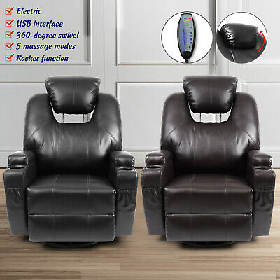Electric Rocker Recliner Chair with Massage Heat and USB Leather Vibrating -