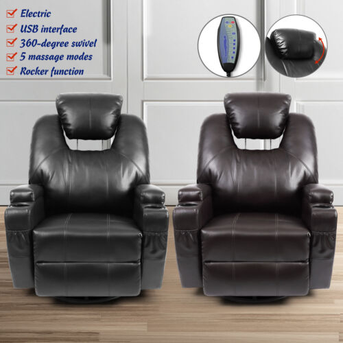 Electric Rocker Recliner Chair with Massage Heat and USB Lea