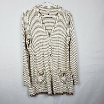 LOGO Lori Goldstein Womens Cardigan Size S Tan Striped Button Down V Neck Pocket Pocket V-neck Cardigan