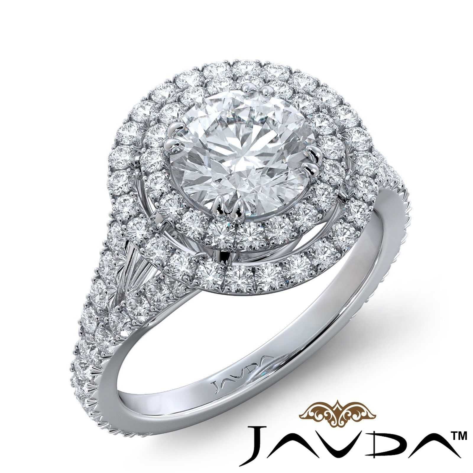 2.3ctw French V Cut Pave Gala Halo Round Diamond Engagement Ring GIA F-VVS2 Gold