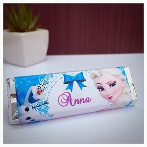 Pre Cut Personalised Frozen Kit Kat Chocolate Bar Party Bag Favour Wrappers X6