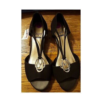 NWOB IMPO Stretch Women's Size 8.5 Ricci Shoes Wedge Sandals Black Silver