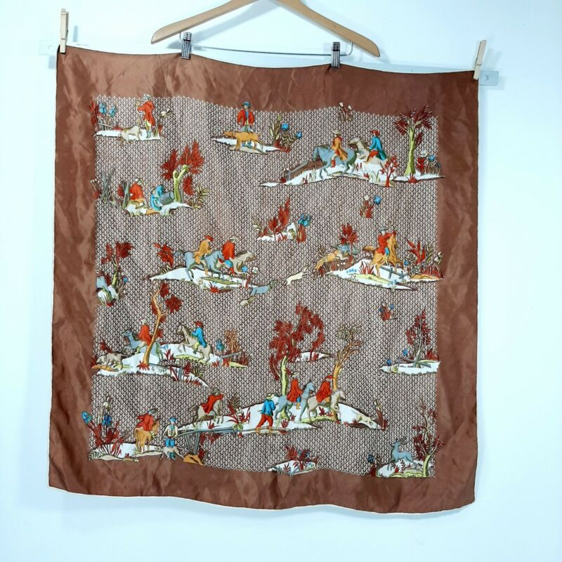 Vintage Vanette Creations hand rolled all silk square scarf