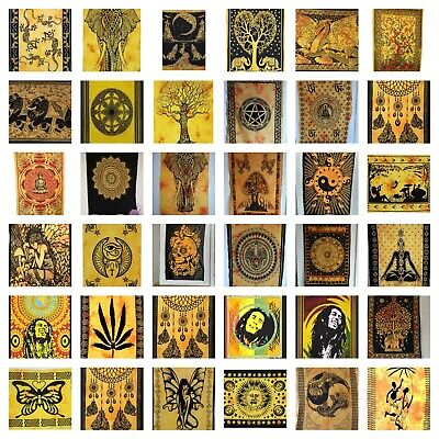 YELLOW Cotton Mandala Wall Hanging Tapestry Hippie Bohemian Boho Decor Poster UK