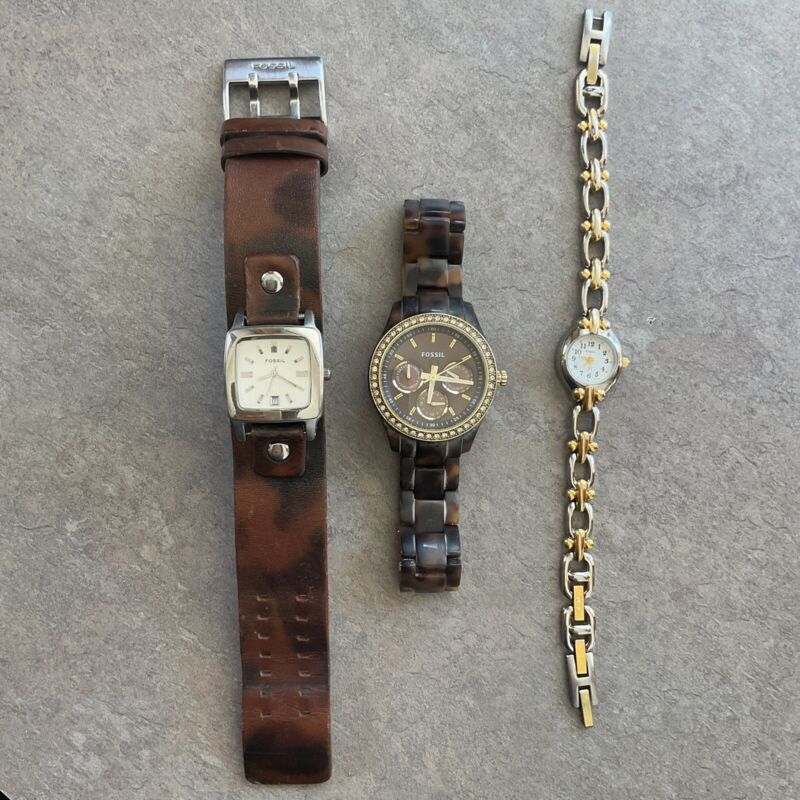 Great Lot of Three Fossil Womens WatchesvAll Three Watches Run Great Lot #71