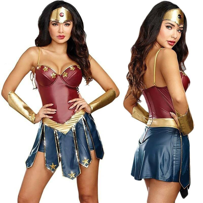 Wonder Woman Cospaly Fancy Dress Halloween Party Adult Outfi